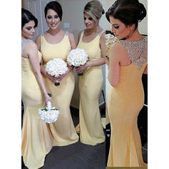 Trumpet/Mermaid Satin Bridesmaid Dresses Beading Sequins Scoop Neck Sleeveless Sweep Train