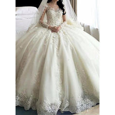 Ball-Gown Organza Long Sleeves Scoop Royal Train Wedding Dresses (002147855)