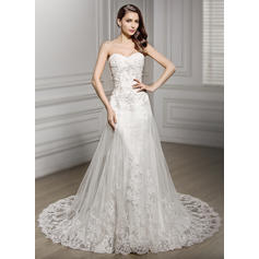 Strapless Sleeveless Sweetheart With Tulle Lace Wedding Dresses (002210585)