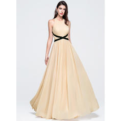 A-Line/Princess Scoop Neck Floor-Length Prom Dresses With Ruffle Beading Sequins