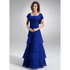 A-Line/Princess Chiffon Short Sleeves Square Neckline Floor-Length Zipper Up Mother of the Bride Dresses