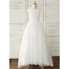 Ball Gown Scoop Neck Floor-length With Bow(s) Tulle/Lace Flower Girl Dresses