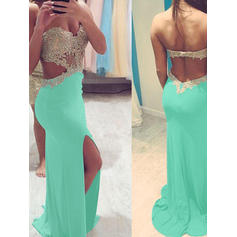 Sweetheart Beading Sheath/Column Jersey Prom Dresses
