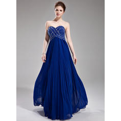 Chiffon Sleeveless A-Line/Princess Prom Dresses Sweetheart Beading Sequins Pleated Floor-Length