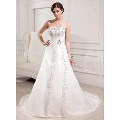 Elegant Chapel Train A-Line/Princess Wedding Dresses Sweetheart Satin Organza Sleeveless