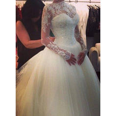 Long Sleeves High Neck Cathedral Train Tulle Wedding Dresses