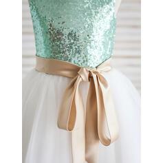 Forme Princesse Longueur mollet Robes à Fleurs pour Filles - Tulle/Pailleté Sans manches Col rond avec Ceintures (Bande détachable) (010092609)