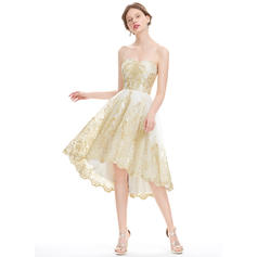 A-Line/Princess Sweetheart Asymmetrical Homecoming Dresses (022214141)