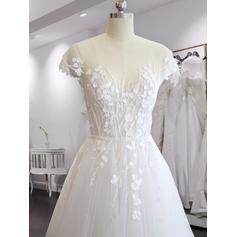 Mode Tulle Robes de mariée avec Manches Motifs appliqués Dentelle (002218629)