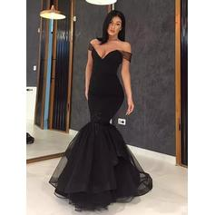 Off-the-Shoulder Ruffle Cascading Ruffles Organza With Stunning Evening Dresses (017217879)