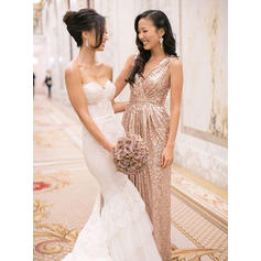 A-Line/Princess Sequined Bridesmaid Dresses Ruffle V-neck Sleeveless Floor-Length