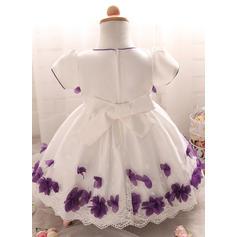 Satén Tul Escote redondo Vestidos de bautizo para bebés con Manga corta (2001217997)