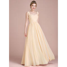 A-Line/Princess Floor-Length Chiffon Bridesmaid Dress With Ruffle (007104715)