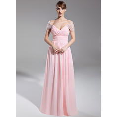 A-Line/Princess Off-the-Shoulder Chiffon Short Sleeves Floor-Length Ruffle Beading Evening Dresses