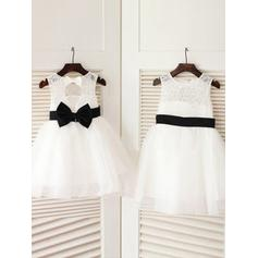 Simple Knee-length A-Line/Princess Flower Girl Dresses Scoop Neck Tulle/Lace Sleeveless