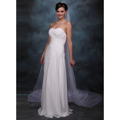 Cathedral Bridal Veils Tulle One-tier Oval/Drop Veil With Pencil Edge Wedding Veils