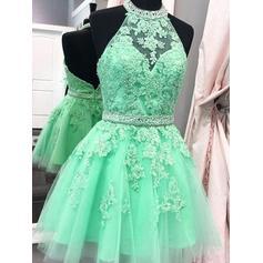 Cintos Apliques de Renda Vestidos princesa/ Formato A Curto/Mini Tule Vestidos de boas vindas (022216286)