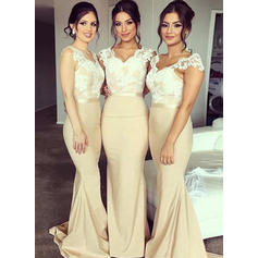 Trumpet/Mermaid Lace Jersey Bridesmaid Dresses V-neck Sleeveless Sweep Train
