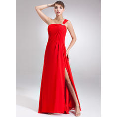 Empire One-Shoulder Floor-Length Chiffon Prom Dresses With Ruffle Beading Split Front