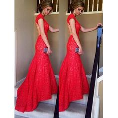 Trumpet/Mermaid Lace Prom Dresses V-neck Sleeveless Sweep Train