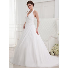 Sweetheart Chapel Train A-Line/Princess Wedding Dresses Halter Chiffon Sleeveless