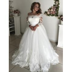 Magnificent Tulle Wedding Dresses With Sleeves Lace Sash Bow(s) (002218060)