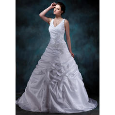 A-Line/Princess Sweetheart Court Train Wedding Dresses With Ruffle Beading Appliques Lace (002001588)