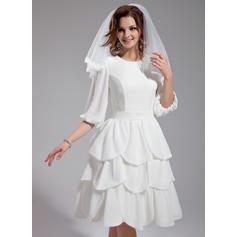 Princess Scoop A-Line/Princess Wedding Dresses Knee-Length Chiffon (002211050)