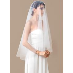 Velos de novia vals Tul Uno capa Óvalo con Corte de borde Velos de novia