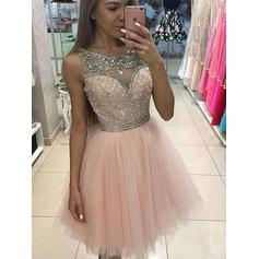 Knee-Length A-Line/Princess Scoop Neck Tulle Cocktail Dresses