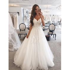 A-Line/Princess Sweetheart Floor-Length Wedding Dresses With Lace