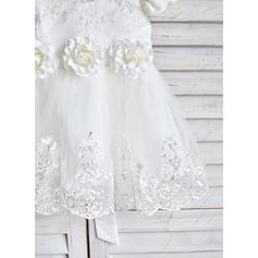 Forme Princesse Longueur genou Robes à Fleurs pour Filles - Satiné/Tulle/Dentelle Manches courtes Col rond avec Ceintures/Fleur(s) (010091890)