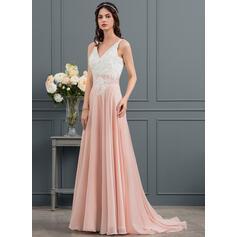 tea length chiffon wedding dresses