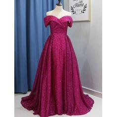 Sequined Modern Ball-Gown Sweep Train Prom Dresses (018218650)