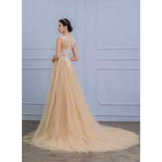 Forme Princesse Col rond Traîne moyenne Tulle Robe de mariée (002107855)