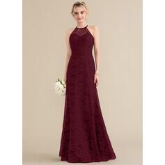 Vestidos princesa/ Formato A Decote redondo Longos Renda Vestido de festa (017164920)