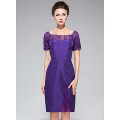 Sheath/Column Off-the-Shoulder Taffeta Lace Short Sleeves Knee-Length Beading Sequins Cocktail Dresses