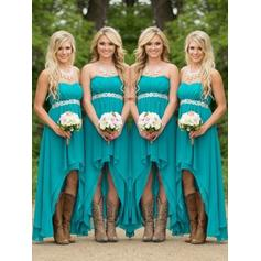 A-Line/Princess Chiffon Bridesmaid Dresses Ruffle Sweetheart Sleeveless Asymmetrical