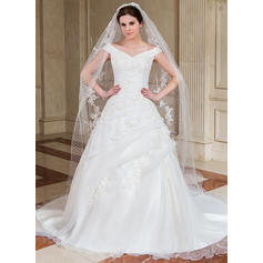 A-Line/Princess Off-the-Shoulder Chapel Train Organza Wedding Dress With Ruffle Beading Appliques Lace Sequins (002004529)