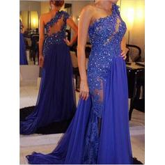 Chiffon Sleeveless A-Line/Princess Evening Dresses Court Train (017196752)