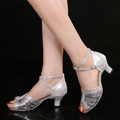 Women's Latin Sandals Sparkling Glitter With Ankle Strap Dance Shoes