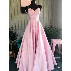 A-Line/Princess V-neck Floor-Length Prom Dresses With Ruffle (018219389)