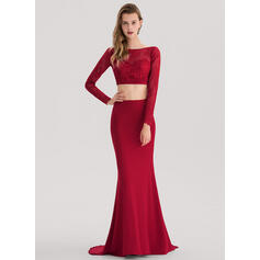 Trumpet/Mermaid Scoop Neck Sweep Train Jersey Prom Dresses (018138348)