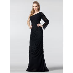 One-Shoulder Chiffon Floor-Length Evening Dresses Long Sleeves (017020986)