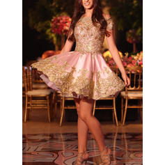 A-Line/Princess Off-the-Shoulder Satin Short Sleeves Short/Mini Appliques Lace Cocktail Dresses