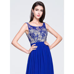 Sin mangas Corte A/Princesa Gasa Escote redondo Vestidos de baile de promoción (018070377)