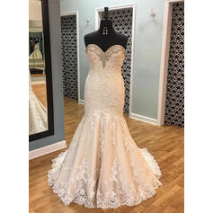 Trumpet/Mermaid Sweetheart Court Train Wedding Dresses With Beading Sequins (002146915)