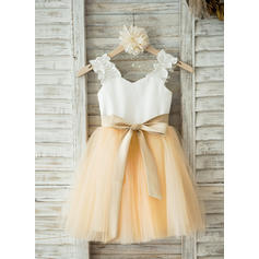 Straps A-Line/Princess Flower Girl Dresses Satin/Tulle Sash Sleeveless Knee-length