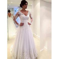 Flattering Tulle Wedding Dresses A-Line/Princess Chapel Train V-neck Long Sleeves (002147791)
