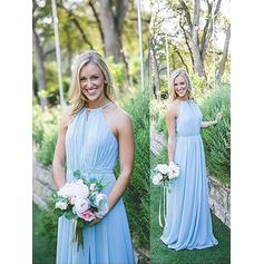 Floor-Length Halter A-Line/Princess Chiffon Bridesmaid Dresses